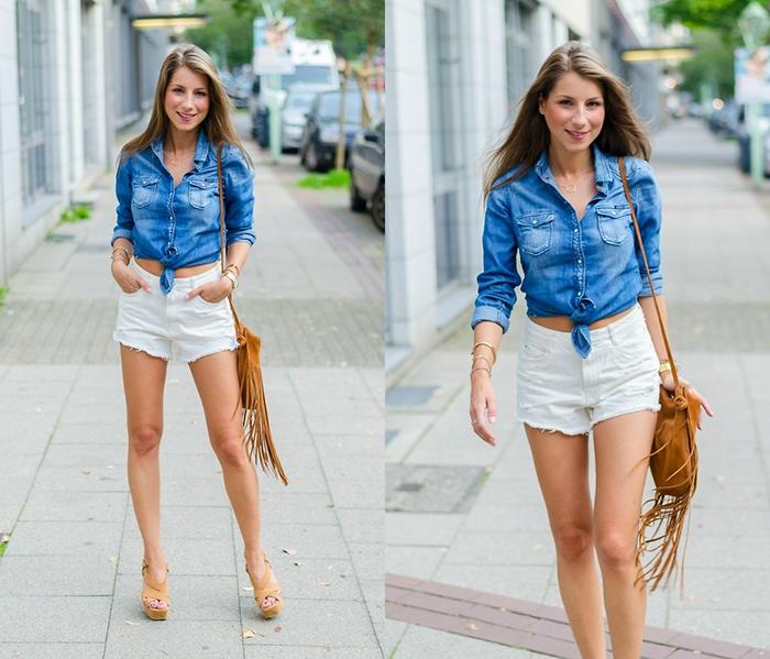 Рубашка из джинса и шорты фото