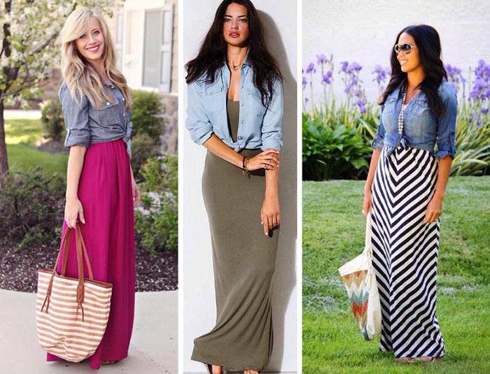 Длинные юбки под рубашку из джинса фото