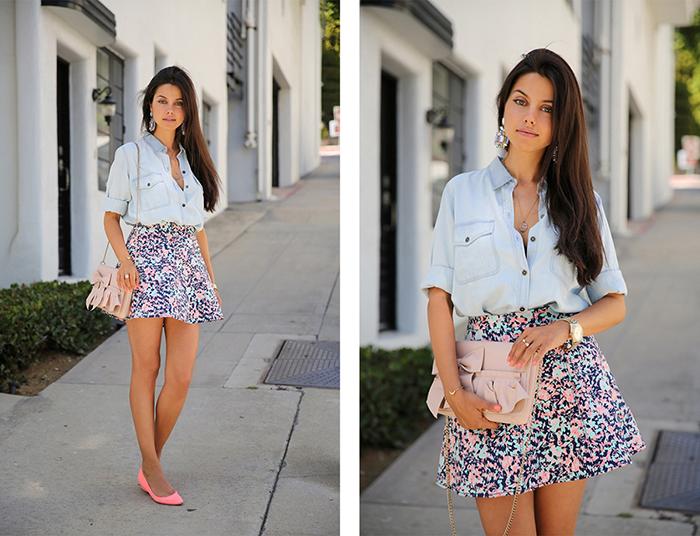 Короткая юбка под светлую джинсовую рубашку фото
