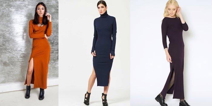 Макси платье-лапша с разрезами до колена фото
