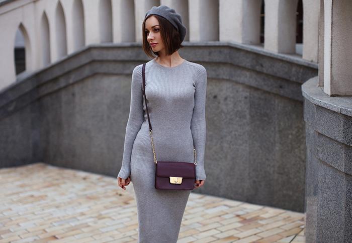 Серое платье-лапша фото
