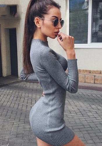 Серое мини платье-лапша фото