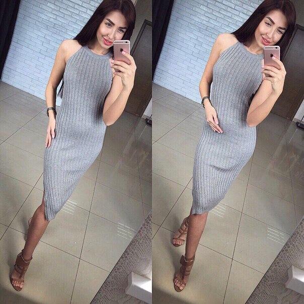 Платье-лапша в обтяжку ниже колена без рукавов фото