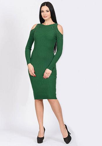 Платье-лапша зелёного цвета фото