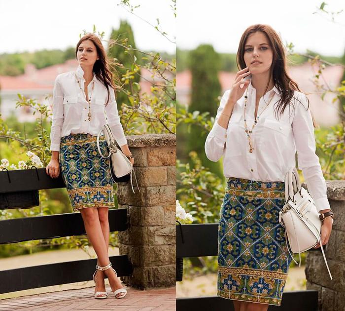 Белая рубашка под юбку летом фото
