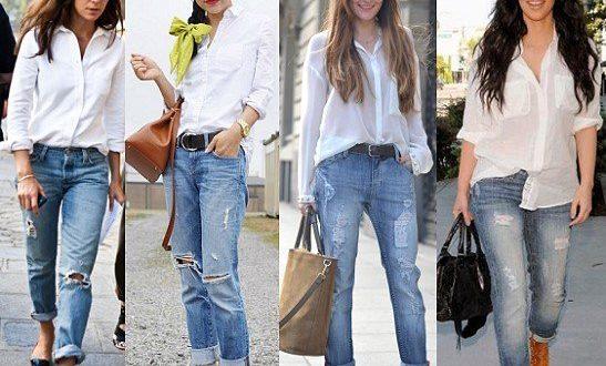 Белая рубашка под светлые джинсы фото