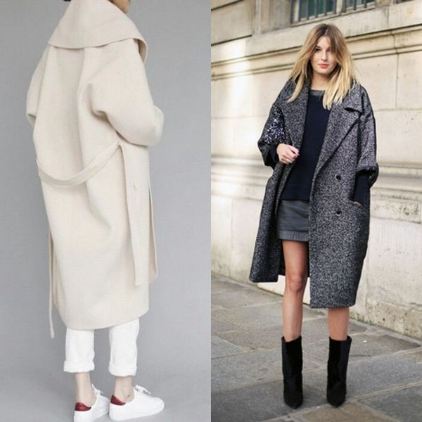 Длинное пальто кокон фото