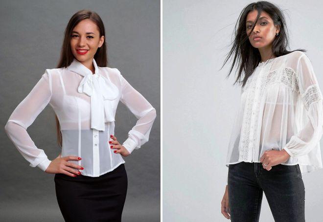 Прозрачная белая рубашка фото