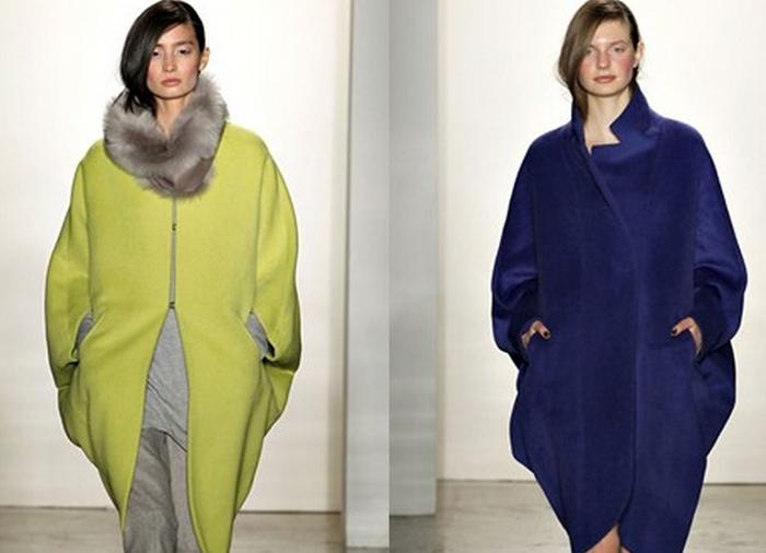 Модельное пальто кокон фото