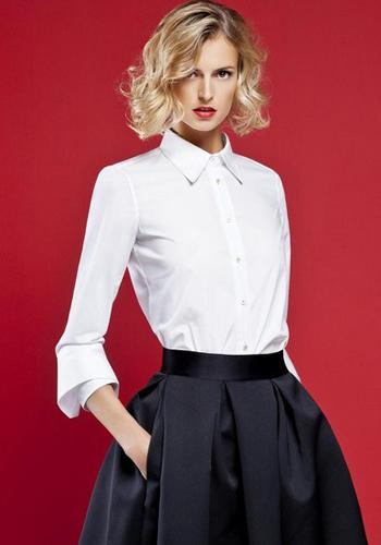 Белая рубашка под пышную юбку фото