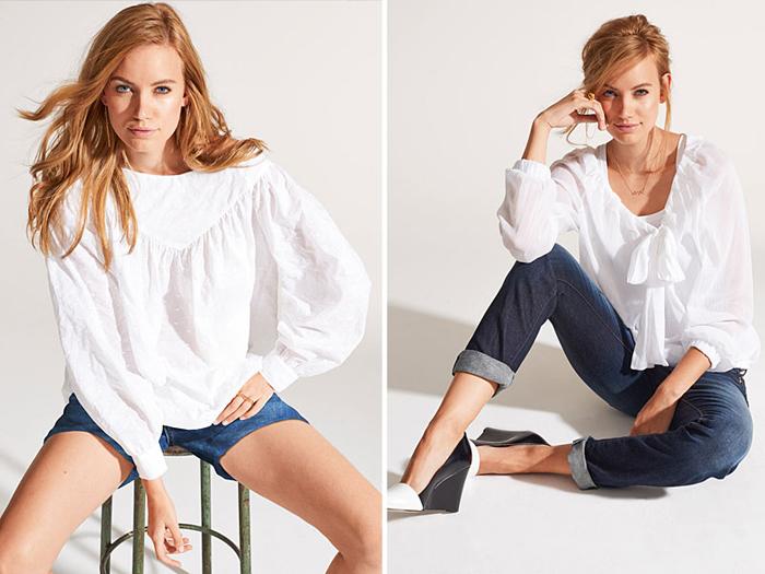 Белая рубашка в романтическом стиле фото