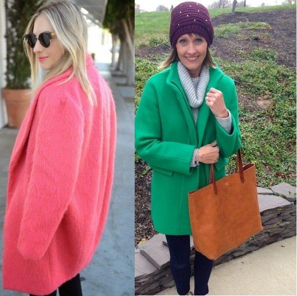 Зелёное пальто кокон фото