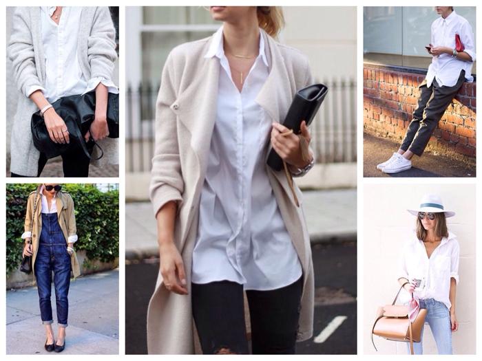 Модные луки с белой рубашкой фото