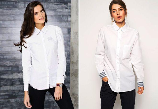 Широкая белая рубашка под брюки фото