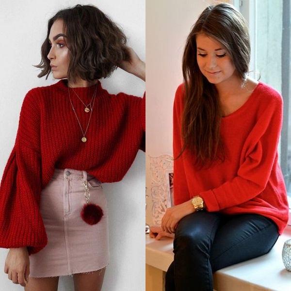Стильный красный свитеров фото