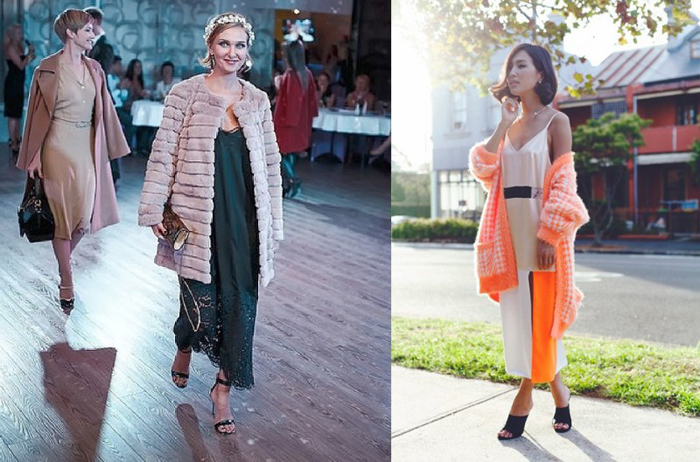 С чем носить длинное платье комбинацию фото