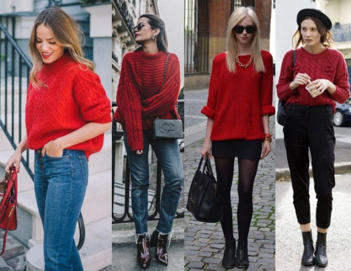 Современный красный свитер фото