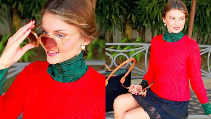 Классический красный свитер фото