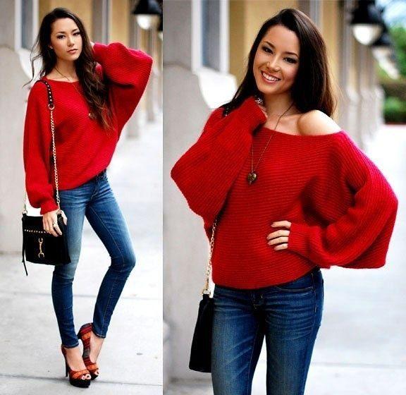Широкий красный пуловер фото