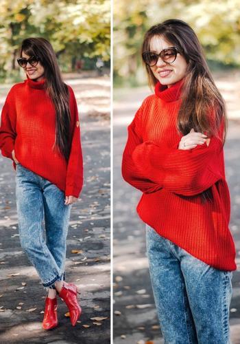 Красный пуловер под красную обувь фото