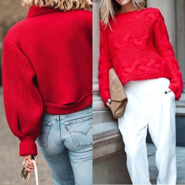 Красный джемпер под джинсы фото