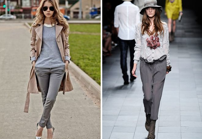 Современные серые брюки фото