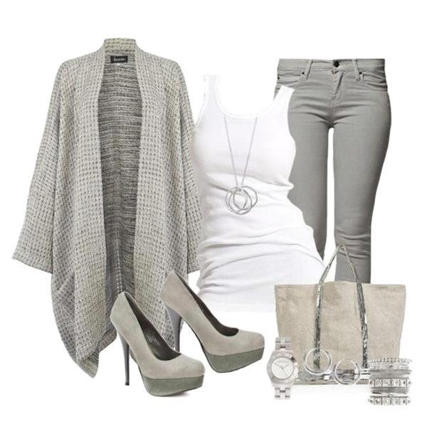 Модный прикид с серыми брюками фото