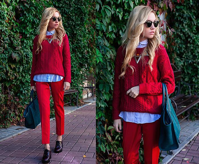 Красный свитер под красные брюки фото