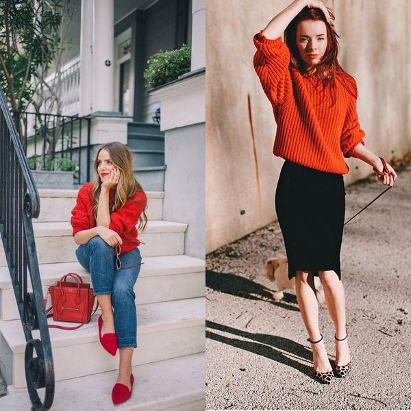 :Женский красный свитер фото