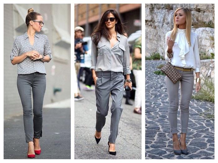 Узкие брюки серого цвета фото