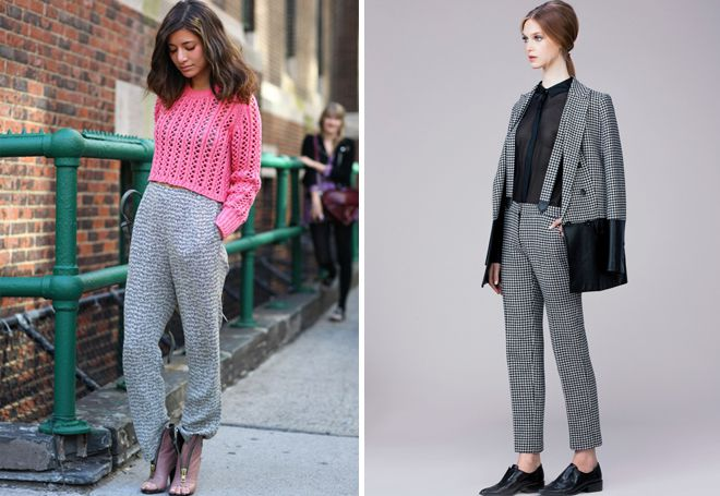 Серые брюки под розовую кофточку фото