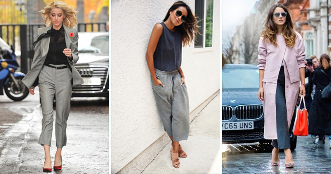 Широкие женские штаны серого цвета фото