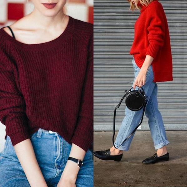 Сливово-красный свитер фото