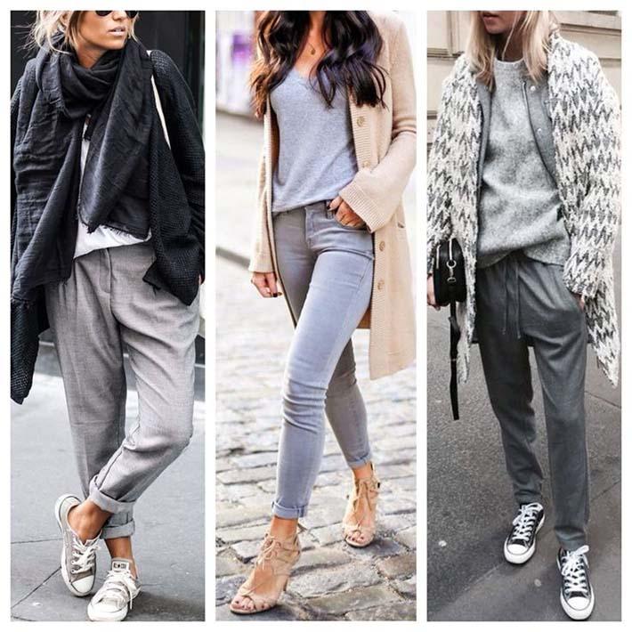 Молодёжные брюки серого цвета фото