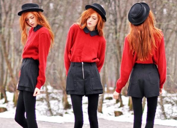 Красный свитер под чёрные шорты фото