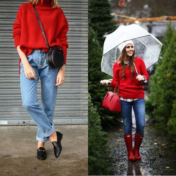 Красный джемпер весной фото