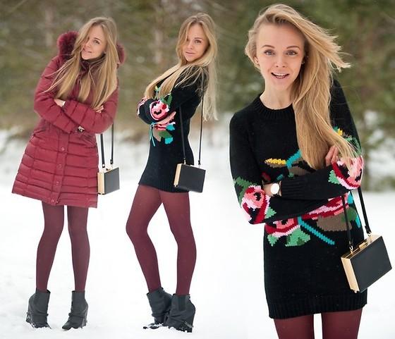 Красный пуховик под платьице зимой фото