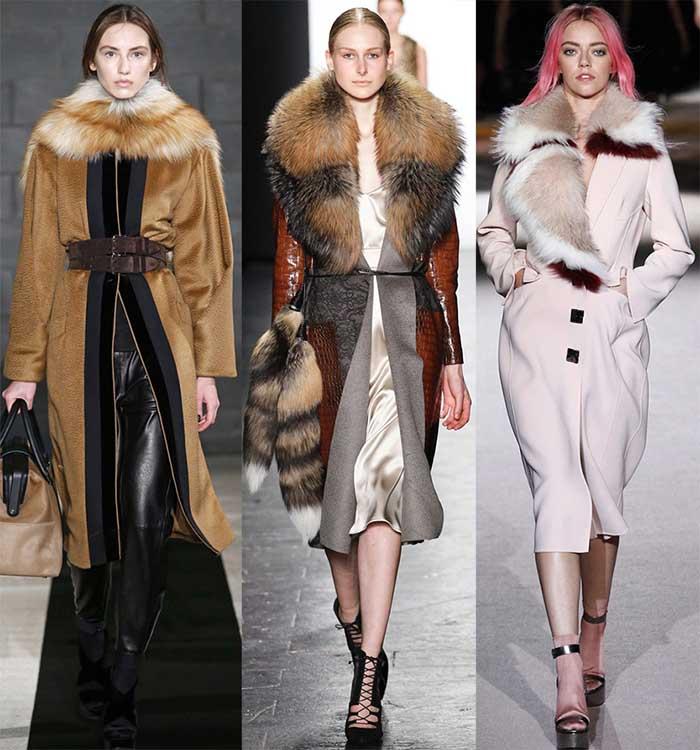 Стильное пальто с меховым воротником фото