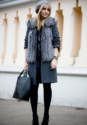 Меховое пальто с беретом фото