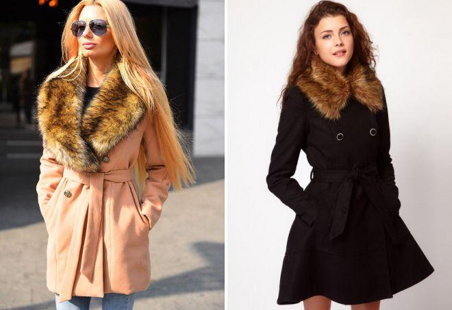 Утеплённое пальто с меховым воротником фото