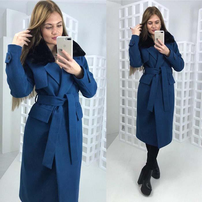 Длинное синее пальто фото