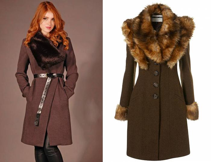 Зимнее пальто с меховым воротником коричневого цвета фото