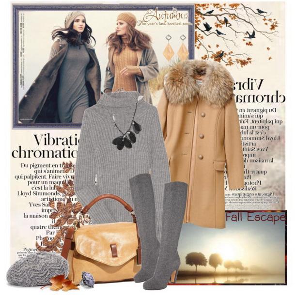 Бежевое пальто под серые сапоги фото
