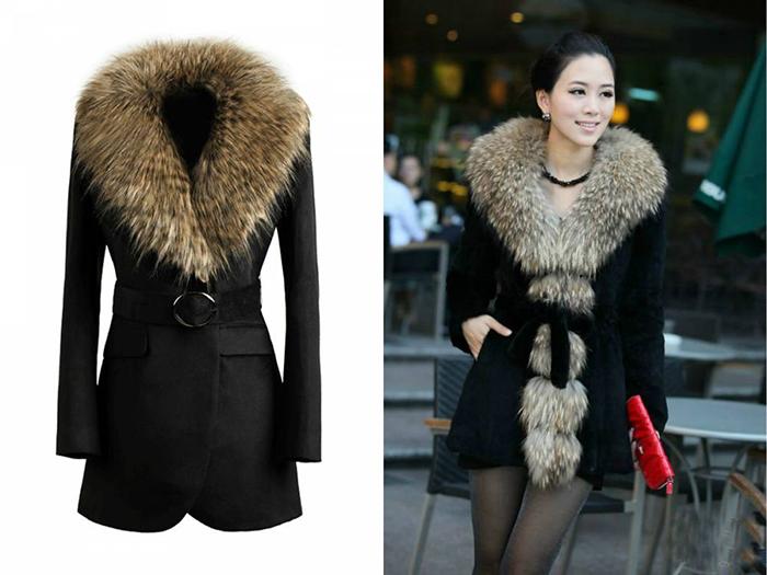 Зимнее пальто с мехом фото