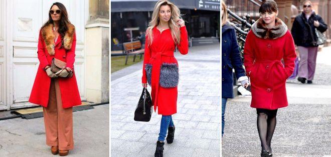Красное пальто с накладными карманами фото