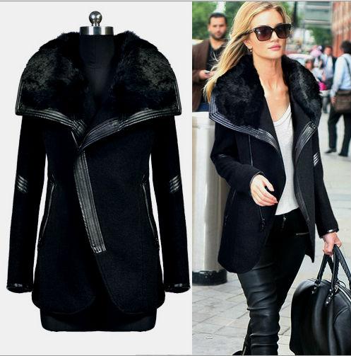 Короткое осить черное пальто зимой фото