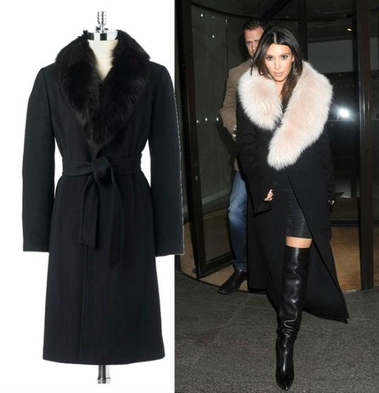 Классическое чёрное пальто зимой фото