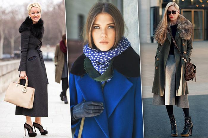 Синее зимнее пальто фото