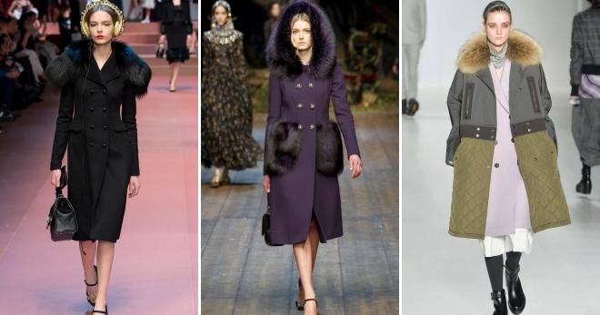 Пальто с мехом средней длины фото