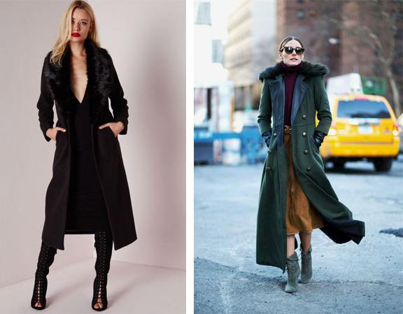 Стильное длинное зимнее пальто фото